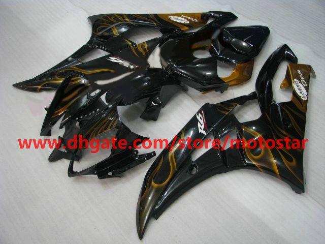 High grade yellow flame fairing for 2006 2007 YAMAHA YZF-R6 YZFR6 06 07 YZF R6 fairings kit R19A