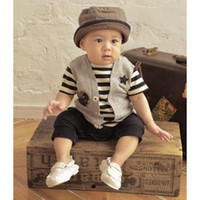 Wholesale Boys Shortall 24 Months - new born rompers baby shortall boys' one-piece romper bodysuits overall t-shirts outfits C362