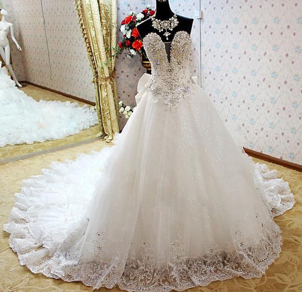 478d87cb7c2 Роскошные бальные платья свадебные платья Стразы Блестки Кружева Свадебные  платья с шлейфом
