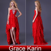 Wholesale Cocktail Party Gown Wholesale - Grace Karin Sexy Strapless Hi-Lo Party Prom Gown Cocktail Dress Beaded Sweetheart Design 8 Size US 2~16 CL3517