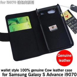 Wholesale Galaxy S Advance Cases - flip 100% genuine Cow leather Case with wallet for Samsung Galaxy S Advance i9070, free shipping