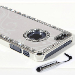 Wholesale Iphone Case Aluminium Chrome - Stylu+Silver Aluminium Bling Crystal Diamond Chrome Hard Case Cover For iPhone 5