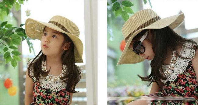 Bonés das crianças Chapéus Chapéu da menina da criança / chapéu de praia / chapéu de crianças / chapéu de sol, 5 pçs / lote,