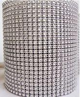"Wholesale Silver Diamond Rhinestone Ribbon Wrap - 4.5"" x 1yd Diamond Mesh Rhinestone Crystal Bling Ribbon Wrap Roll Silver (002003)"