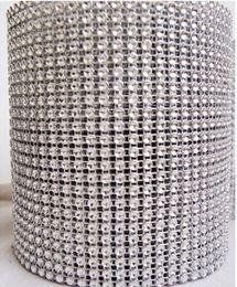 "Wholesale Crystal Mesh Rolls - 4.5"" x 1yd Diamond Mesh Rhinestone Crystal Bling Ribbon Wrap Roll Silver (002003)"