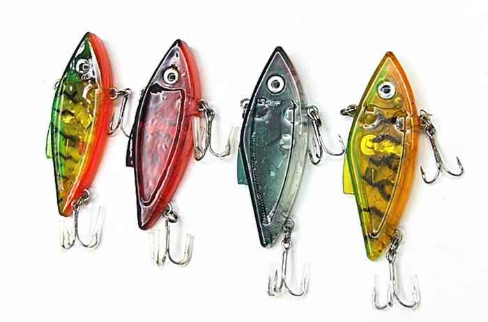 7.5cm 13g LED Fiske Lure Fiskehantering Vibration Sinking Hård Plast Bait Salt eller Färsk Fisk Locka i vatten med röda blinkande ljus
