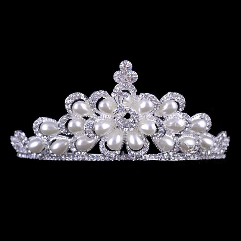 2015 joyas superventas de plata de la perla plateó la joyería de la corona Set Tiaras envío gratis