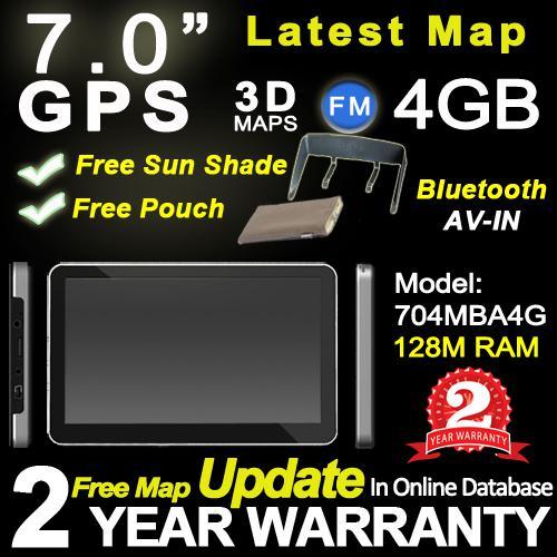 DHL free ship 2014 newest 7'' MTK style GPS navigation, 8G,BT+ AV IN+FM+world map+2 years guarantee