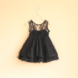 Wholesale Summer Kids Lace Backless Dress - 2016 Backless Dress kids princess black dresses 2-8 years Kids TUTU Lace Jumper Skirt party dress