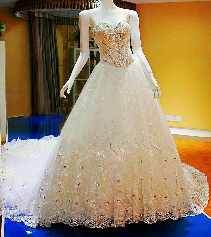 Crystals Luxury Ball Gown Sequins Beads Lace Wedding Dresses Free ...