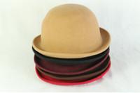 Wholesale Wholesale Woman Dress Wool Hats - Classic Mix Color Fashion Solid Colors Women Wool Felt Cloche Derby CapLadies Dress Hats Bowler Hat