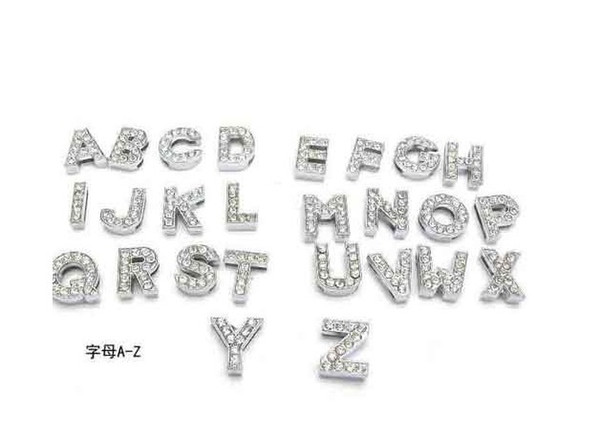 Instock Clearance Sale 260Pcs/Lot DIY Slide Letters With Rhinestone Charms For 10mm Pet Dog Collars Free Shipping