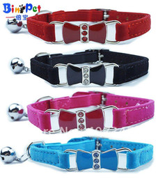 Wholesale Elastic Cat Collars - Free Shipping! 12pcs lot Bling Bow Enamel crystal Cat Collar with Safety Elastic Belt & Bell 4 Color