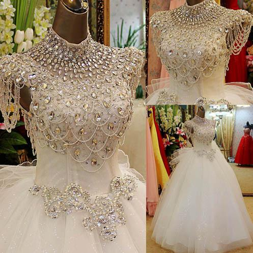 Extravagant Bling Bling Shine High Collar Bandage Ball Gown ...