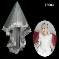 Купить Длина Локтя Тюлевая Вуаль-Vintage White Ivory Short Tulle Wedding Bridal Veil Elbow Length Два слоя из бисера Кружева Appliques