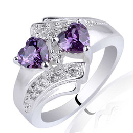 Wholesale Engraved 925 - Women Twin-heart 5mm Stone Purple Amethyst 925 Sterling Silver Ring NAL R014 Engrave