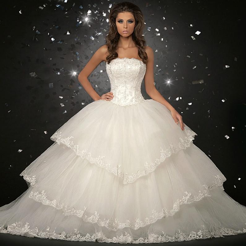 2013 Luxury Organza Big Skirt Bride Ball Gown Wedding