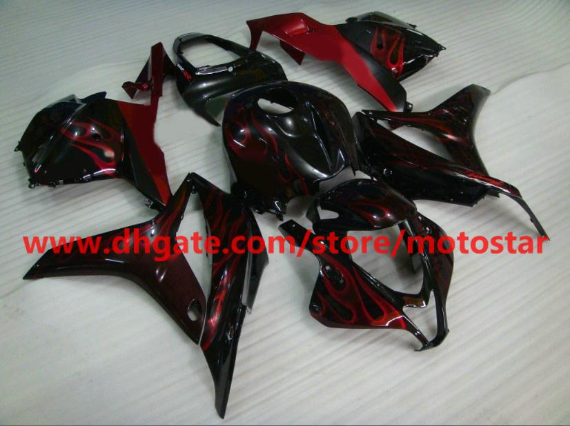 Red flame Injection mold fairings for CBR600RR 2009 2010 2011 2012 CBR 600 RR F5 09 10 11 RX4E