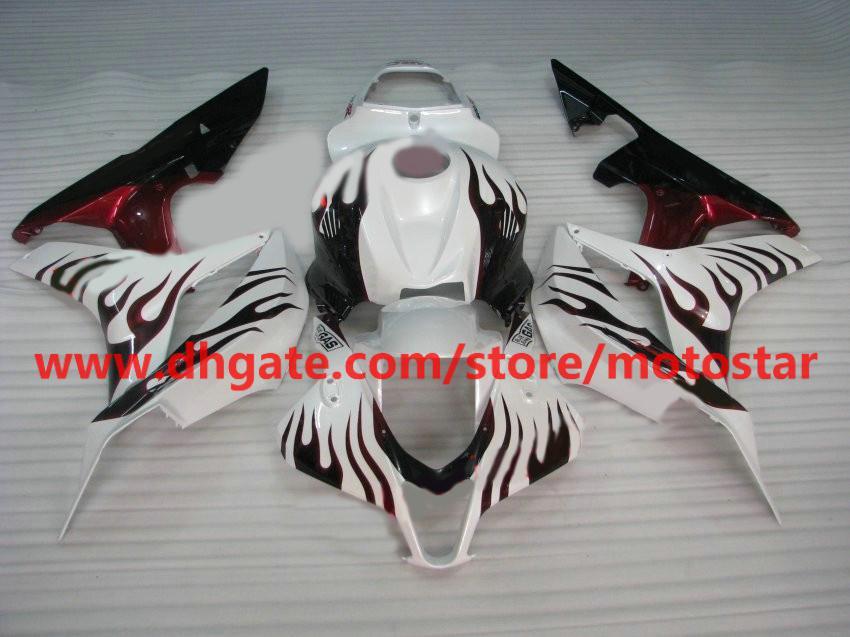 red flame white Injection fairings kit for Honda CBR600RR 2007 2008 CBR 600RR F5 07 08 CBR600 RX1O