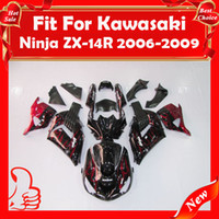 Carenados para ZX14R 2006-2009 Ninja ZZR1400 2006-2009 ZX14 R 06 07 08 09 ZX-14R ZX 14 R 2006-2009 Red Flames Black