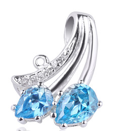 Wholesale Pear Pendant Necklace - Pear Cut Twin-stone Blue Topaz .925 Sterling Silver Pendant NAL P023
