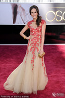 Wholesale Award Sashes - 2013 85th Oscar New sexy amazing embroidery cap sleeve Floor Length Ball Gown Celebrity Dresses