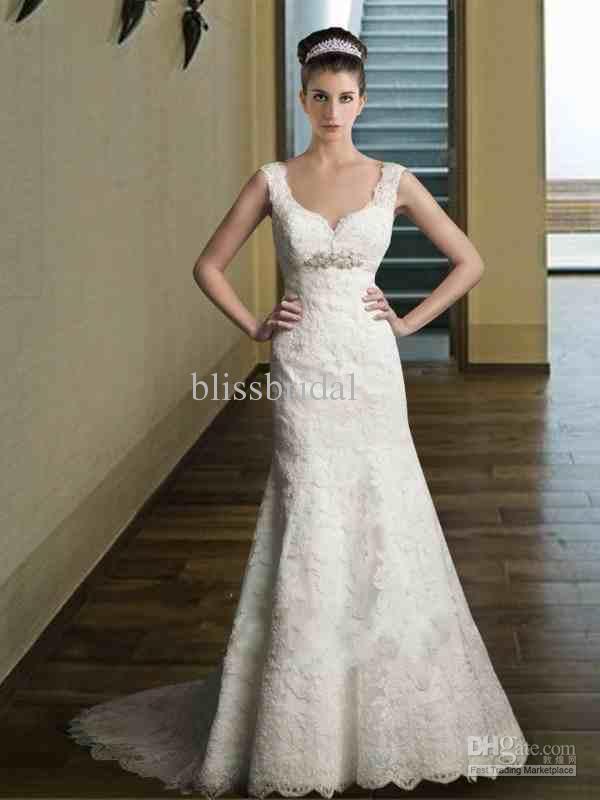 Samling Essens Bästsäljande A-Line Bröllopsklänning Lace Applique Med En Midja Sash Bröllopsklänning