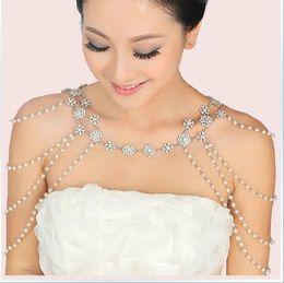 Wholesale epaulet crystal - New Style Epaulet Jacket Crystal Jewelry Necklace Earrings Sets Wedding Bridal Dresses Dress