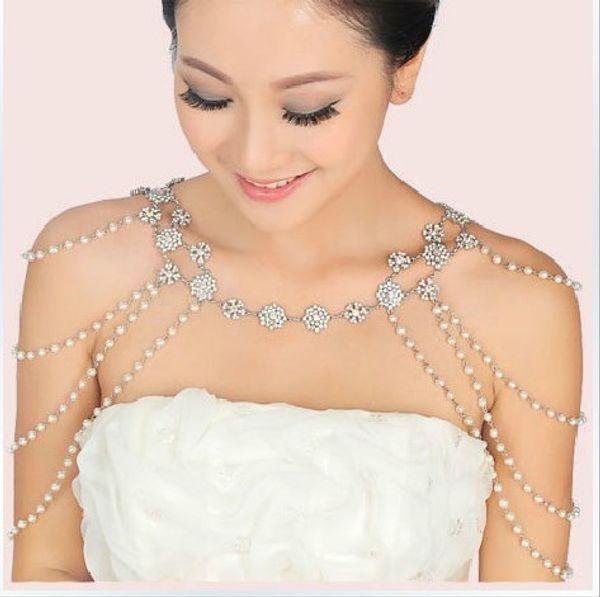 New Style Epaulet Jacket Crystal Jewelry Necklace Earrings Sets Wedding Bridal Dresses Dress