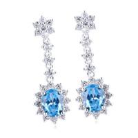 Wholesale Blue Topaz Earrings Oval - Oval Charm Blue Topaz Dangle Piercing .925 Sterling Silver Earrings NAL E031