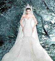 melhores vestidos de noiva clássicos venda por atacado-Clássico Retro Melhor Design Sereia Vestidos De Casamento Rendas com Lindo Véu Catedral Vestido De Noiva