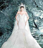 images meilleurs dessins de robe achat en gros de-Robes de mariée sirène design rétro classique meilleure dentelle avec robe de mariée cathédrale magnifique voile