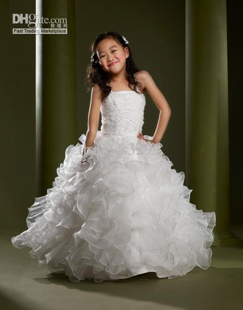 Lovely White Spaghtetti Strps Ball Gown Square Neck Ruffled ...