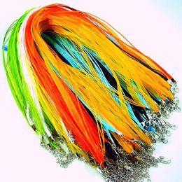 Argentina Cinta de organza de seda trenzada cadena del cordón de la correa 100pcs color de la mezcla envío gratis cheap ribbon cord necklaces Suministro