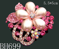 Wholesale Mixed Jewelry Brooches - Wholesale hot sell woman crystal rhinestone fashion flower pearl brooches bridal jewelry Free shipping 12pcs lot Mixed colors BH699