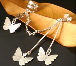 Wholesale Silver Butterfly Ear Cuff - Fashion jewelry earrings !New Butterfly Ear Cuff Clip Piercing Chain Earrings