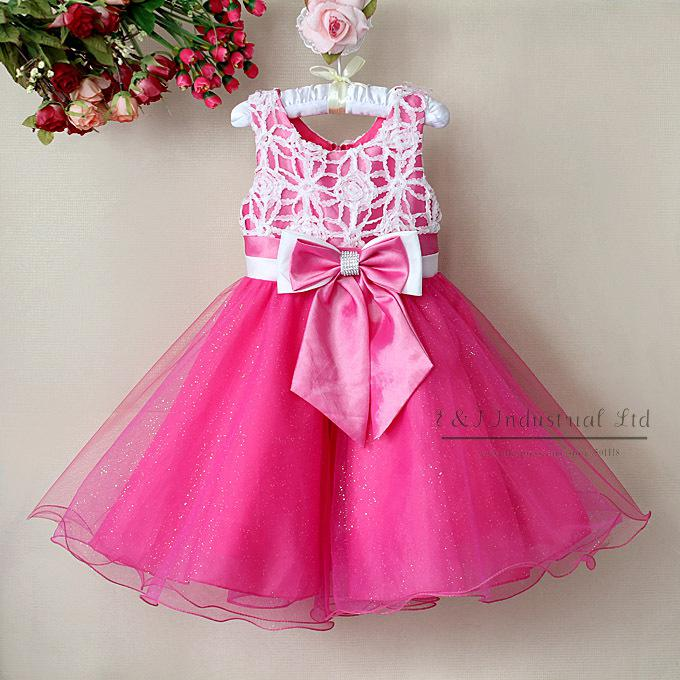 Kids Girl's Fashion Party Dress Pink with Bownot Graceful Princess Dresses Children summer clothes