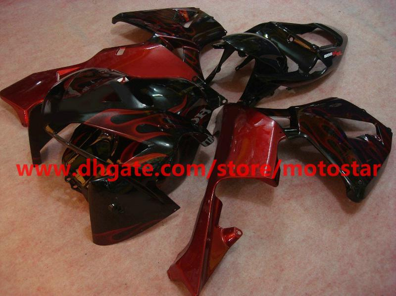 wine red flame black fairings for 2005 2006 CBR600RR Injection molded F5 CBR 600RR 05 06 CBR600 RX5C