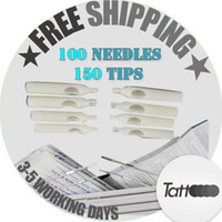 Wholesale Disposable Tattoo 5rt - 100pcs Disposable Sterile Tattoo Needle Assorted Mixed Size 150 Tattoo Tips Tattoo Supplies WSZ-1-1*2+WT008-2-5FT+WT008-2-5RT+WT008-2-5DT