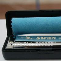 Wholesale Swan Harmonicas - New Swan Harmonica Blues Diatonic Harps Key of C Do 10 Hole + Case + cloth A Bb D G
