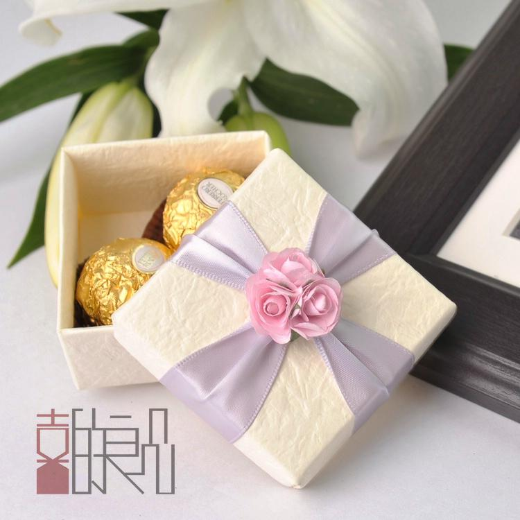 Beautiful Pink Flower Candy Boxes White Paper Square Wedding ...