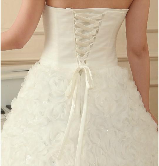 Hot Marfim strapless Organza lace-up cintura corpete beadings lantejoulas A linha de vestidos de noiva de noivas