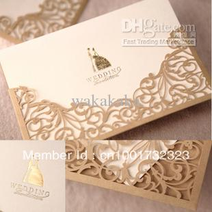 Gorgeous Lace Cut Out Wedding Invitation In Gold Printable And