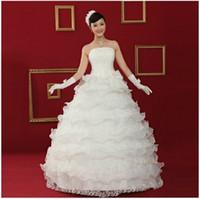 ingrosso arti organza per abiti-Nuovo stile semplice a buon mercato una linea a più strati dell'organza di squisita figura intera gotica vittoriana abito da sposa abiti da sposa