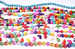 Wholesale Turquoise Connector Beads - DIY Mixed Howlite Turquoise Loose Beads Gemstone Findings Mixed Styles Delivery