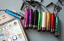 Wholesale Earphone Bullet - Fast Shipping 2 in 1 Mini Bullet Capacitive Touch Pen Stylus + Earphone Dustproof Plug For iPhone iPod iPad Samsung Mobile Phone Tablet PC
