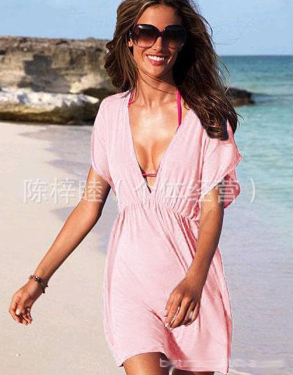 2016サマービーチドレスホットファッションセクシーな女性Vネックドレスビーチミニスカートセクシーな人形クールセクシーなビーチウェア12色