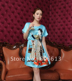 Wholesale Nightgowns For Ladies - Hangzhou silk ,Lady Silk like pajamas, sexy silk Sleepwear Pajamas for women free shipping