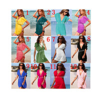 Wholesale Line Dolls For Free - 2016 Summer Beach Dress Hot fashion sexy Women V-neck dress beach mini skirts sexy doll cool sexy beachwear for women 12 colors