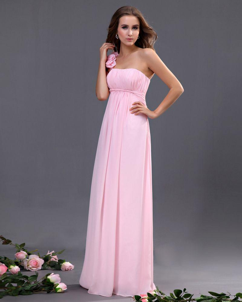 Light Pink Wedding Gown: Pleat Light Pink Chiffon One Shoulder Sheath Sweep Train